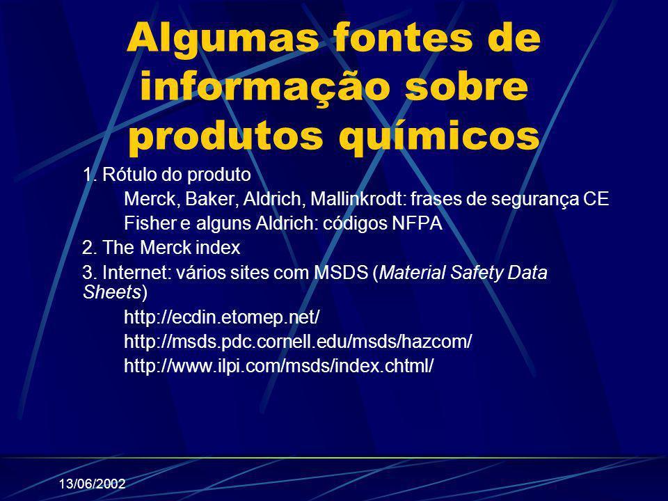 13/06/2002 Algumas fontes de informação sobre produtos químicos 1. Rótulo do produto Merck, Baker, Aldrich, Mallinkrodt: frases de segurança CE Fisher