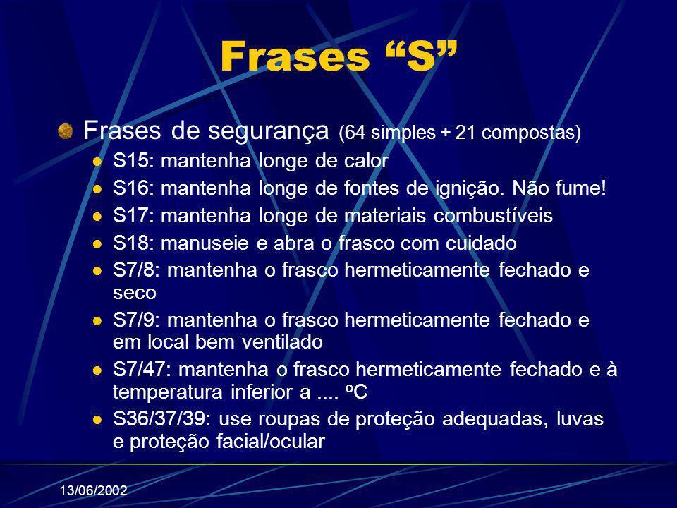 """13/06/2002 Frases """"S"""" Frases de segurança (64 simples + 21 compostas) S15: mantenha longe de calor S16: mantenha longe de fontes de ignição. Não fume!"""