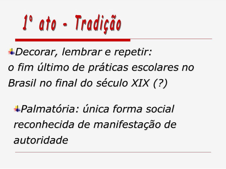 Decorar, lembrar e repetir: o fim último de práticas escolares no Brasil no final do século XIX (?) Palmatória: única forma social reconhecida de manifestação de autoridade