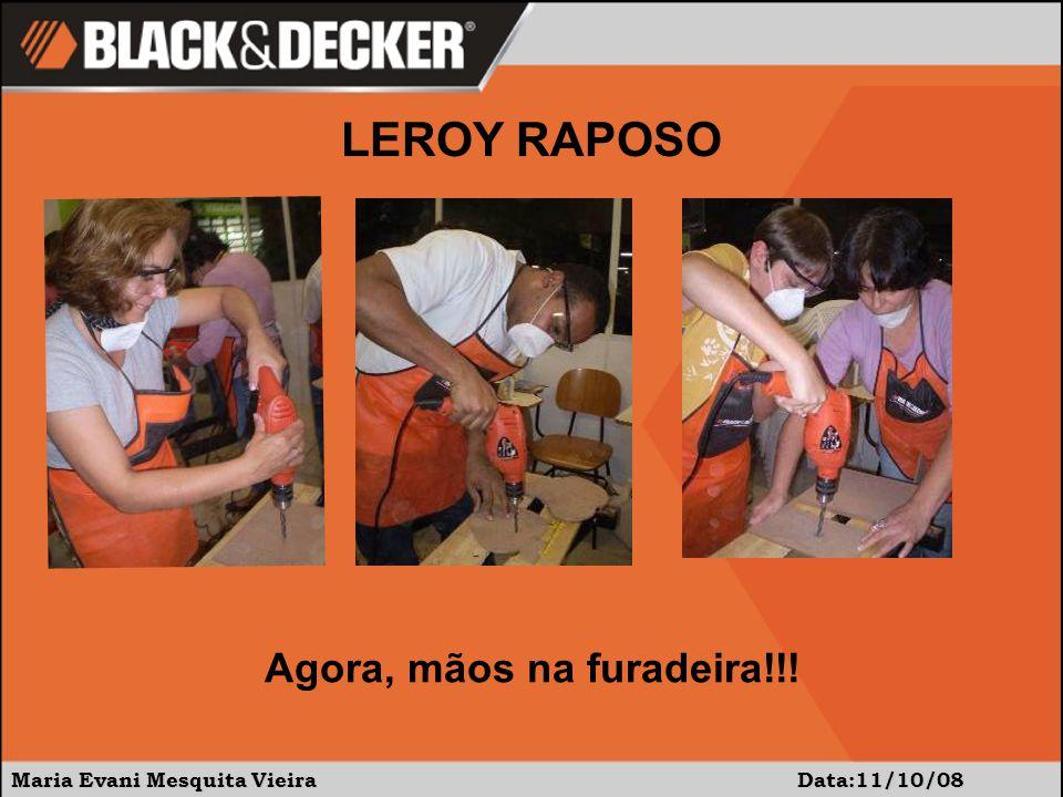 Maria Evani Mesquita Vieira Data:11/10/08 LEROY RAPOSO Na seqüência, mãos na lixadeira!!!