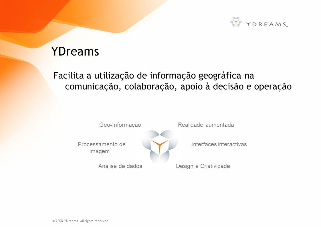 Facilita a utilização de informação geográfica na comunicação, colaboração, apoio à decisão e operação YDreams Realidade aumentada Processamento de im