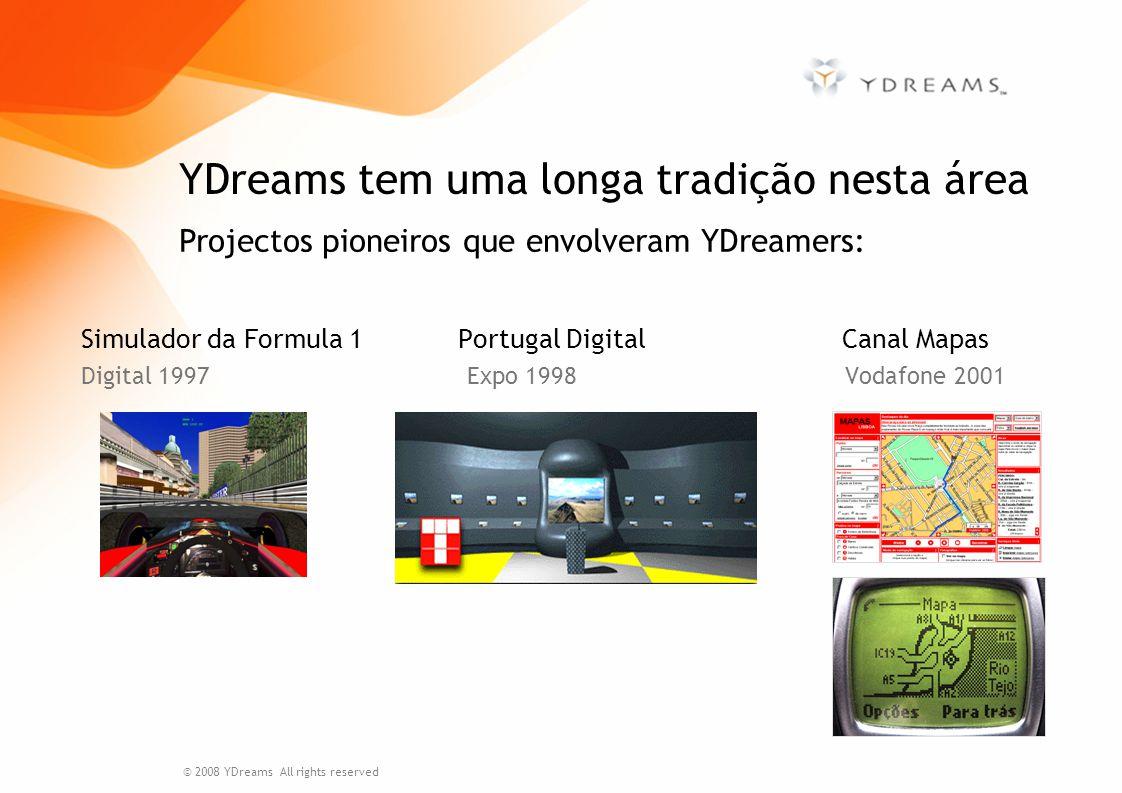 -Interactividade e interfaces para o utilizador -Visualização de simulações -Gestão de fontes de dados heterogéneos -Sketching (estático e dinâmico) -Interacção multi-plataforma (móvel, desktop, mesas) -Data mining Experiência da YDreams © 2008 YDreams All rights reserved IGarment Alqueva Virtual Sketching dinâmico InterSIG INAG