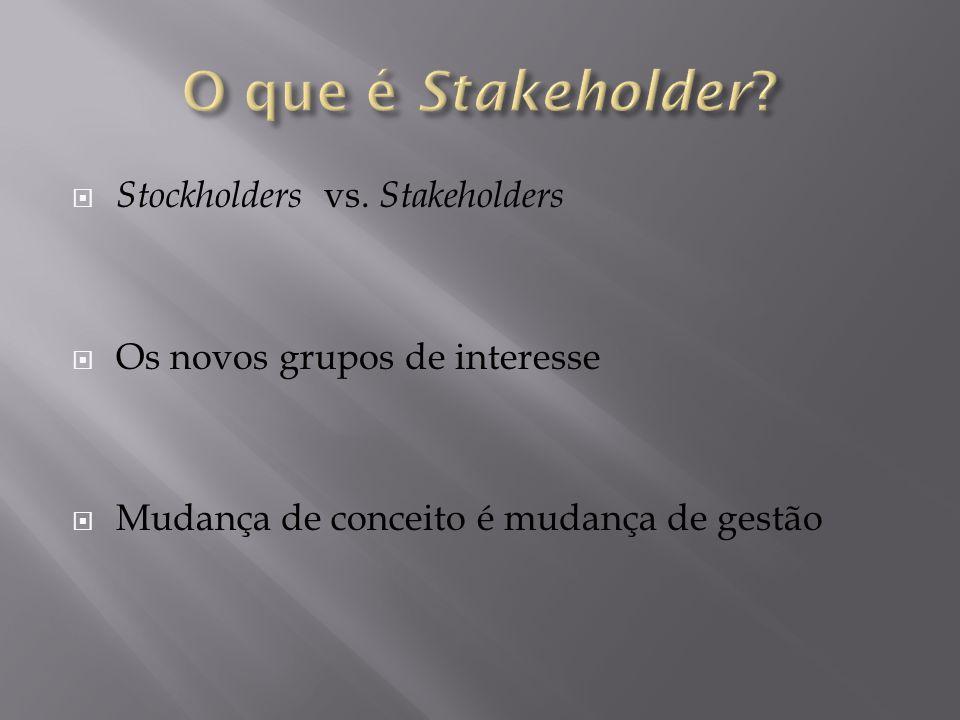  Stockholders vs. Stakeholders  Os novos grupos de interesse  Mudança de conceito é mudança de gestão