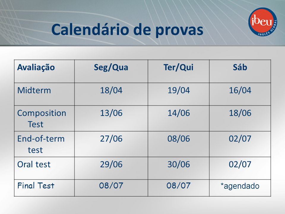 Calendário de provas AvaliaçãoSeg/QuaTer/QuiSáb Midterm18/0419/0416/04 Composition Test 13/0614/0618/06 End-of-term test 27/0608/0602/07 Oral test29/0630/0602/07 Final Test08/07 *agendado