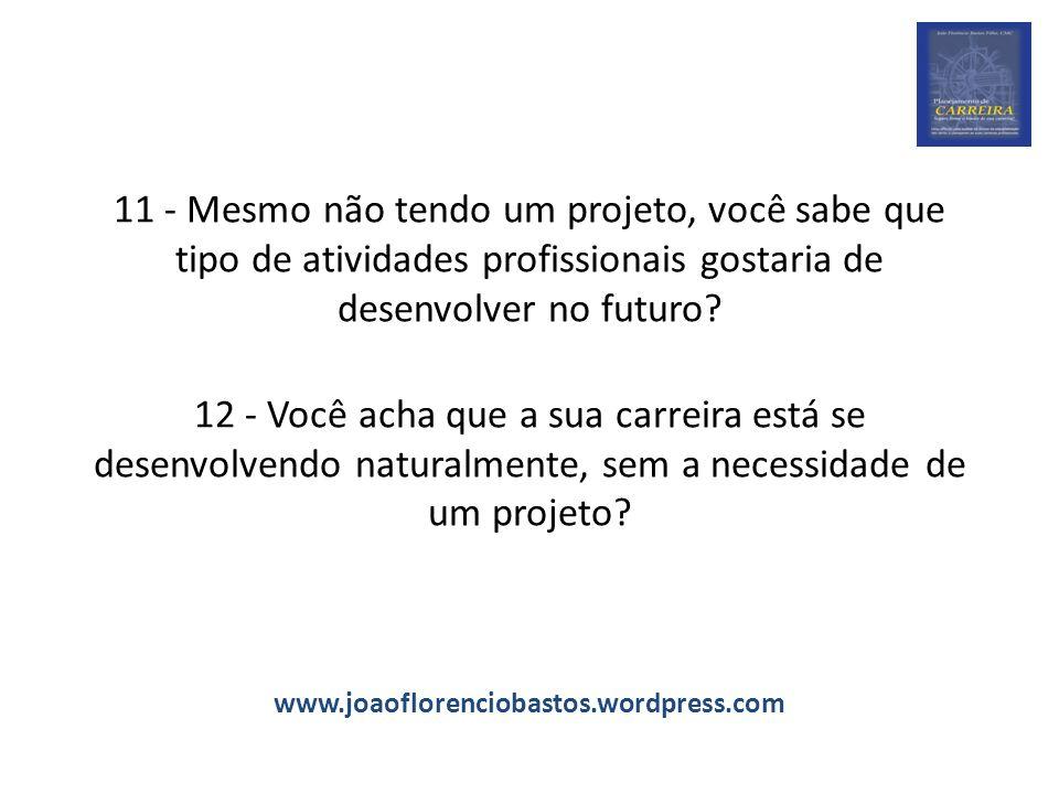 11 - Mesmo não tendo um projeto, você sabe que tipo de atividades profissionais gostaria de desenvolver no futuro? 12 - Você acha que a sua carreira e