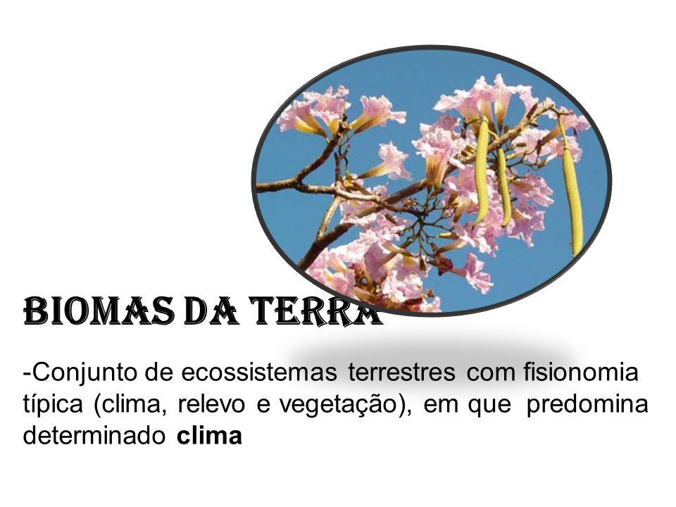 Biomas da Terra -Conjunto de ecossistemas terrestres com fisionomia típica (clima, relevo e vegetação), em que predomina determinado clima