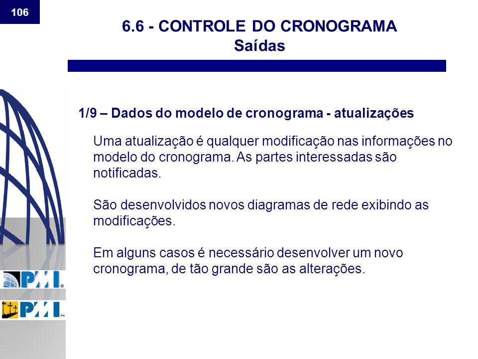 106 6.6 - CONTROLE DO CRONOGRAMA Saídas 1/9 – Dados do modelo de cronograma - atualizações Uma atualização é qualquer modificação nas informações no m