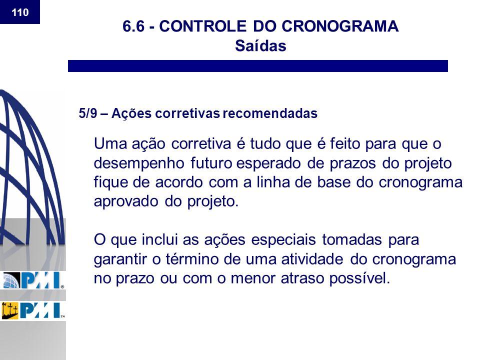 110 6.6 - CONTROLE DO CRONOGRAMA Saídas 5/9 – Ações corretivas recomendadas Uma ação corretiva é tudo que é feito para que o desempenho futuro esperad