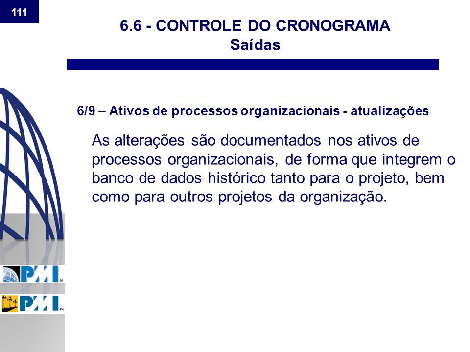 111 6.6 - CONTROLE DO CRONOGRAMA Saídas 6/9 – Ativos de processos organizacionais - atualizações As alterações são documentados nos ativos de processo