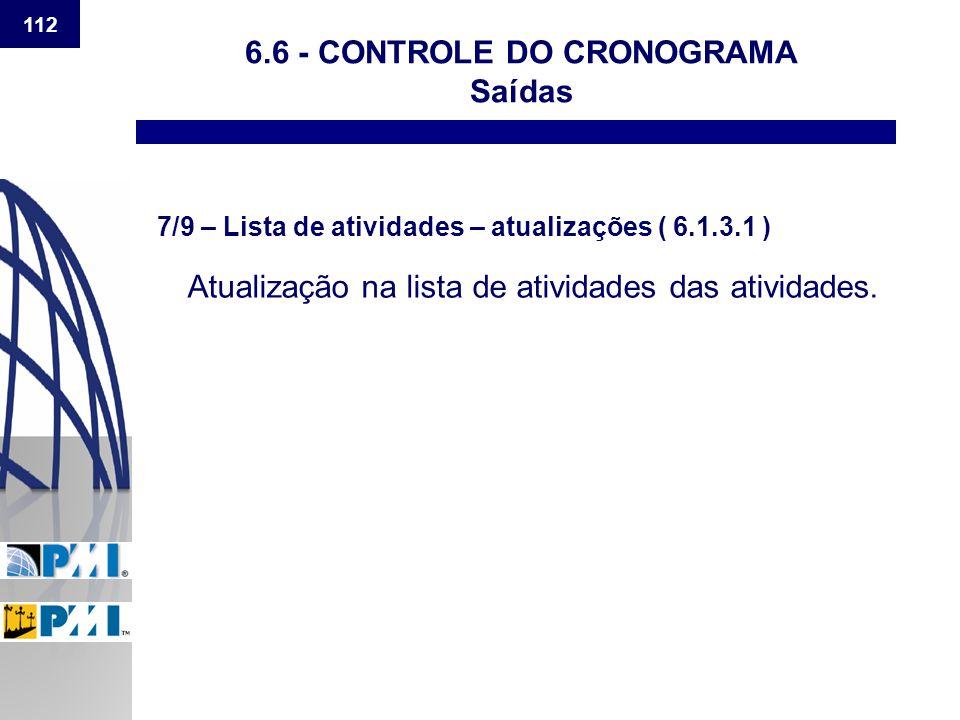 112 6.6 - CONTROLE DO CRONOGRAMA Saídas 7/9 – Lista de atividades – atualizações ( 6.1.3.1 ) Atualização na lista de atividades das atividades.