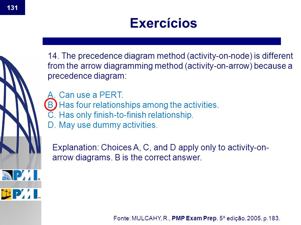 131 Exercícios 14. The precedence diagram method (activity-on-node) is different from the arrow diagramming method (activity-on-arrow) because a prece