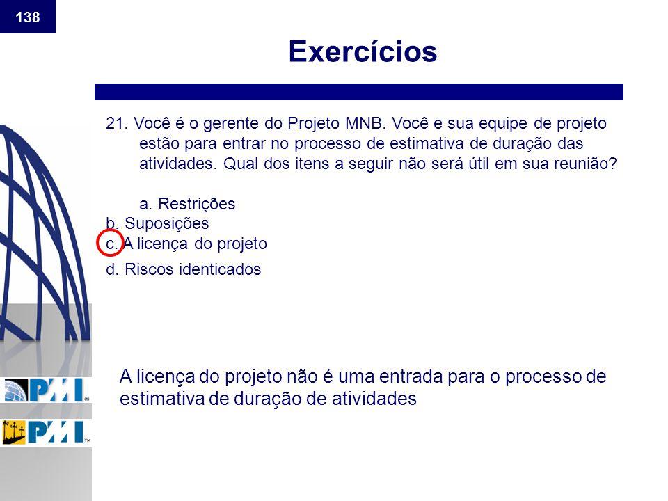 138 Exercícios 21. Você é o gerente do Projeto MNB. Você e sua equipe de projeto estão para entrar no processo de estimativa de duração das atividades