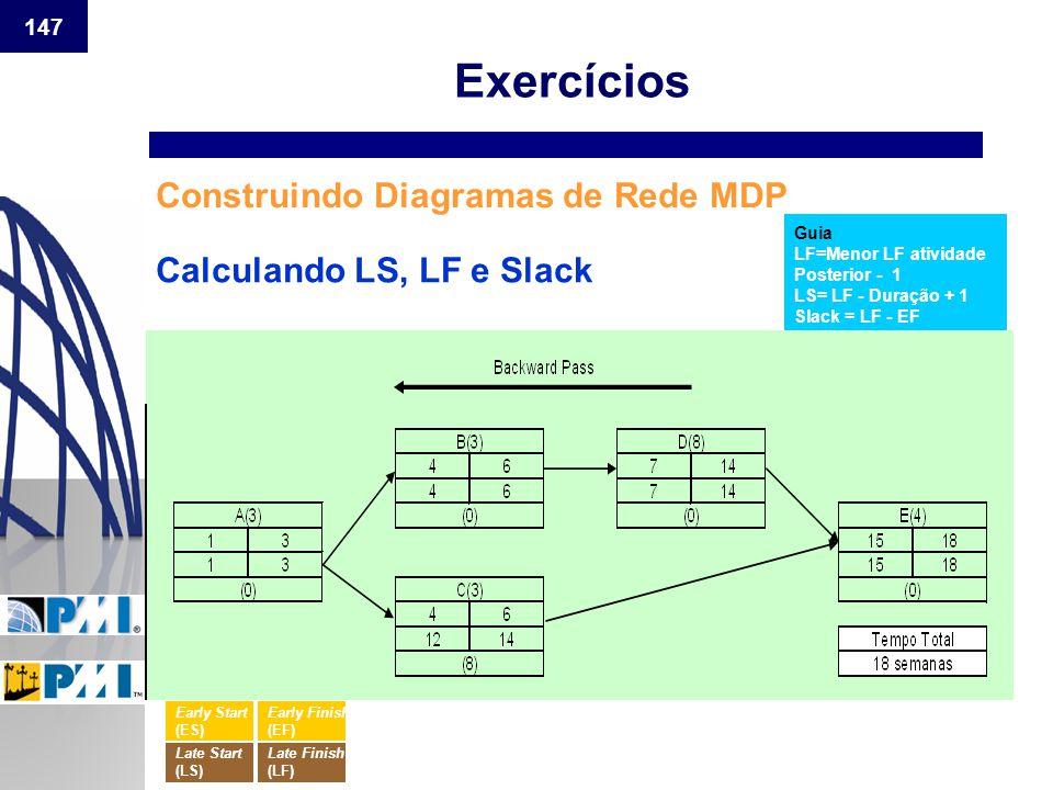 147 Construindo Diagramas de Rede MDP Guia LF=Menor LF atividade Posterior - 1 LS= LF - Duração + 1 Slack = LF - EF Calculando LS, LF e Slack Exercíci