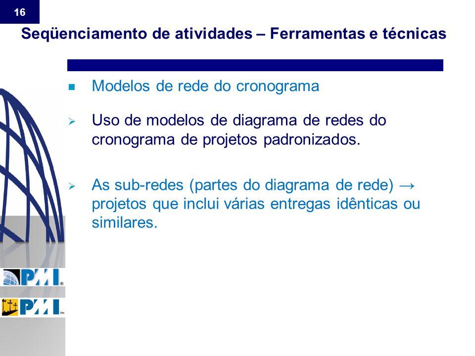 16 n Modelos de rede do cronograma Seqüenciamento de atividades – Ferramentas e técnicas  Uso de modelos de diagrama de redes do cronograma de projet
