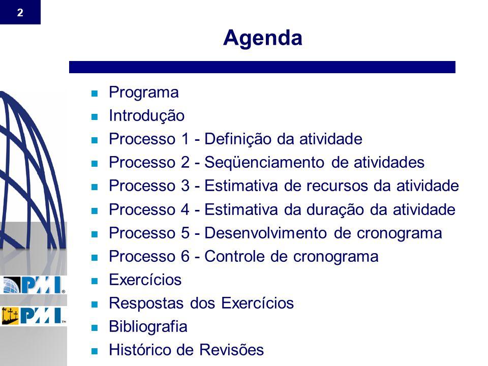 2 n Programa n Introdução n Processo 1 - Definição da atividade n Processo 2 - Seqüenciamento de atividades n Processo 3 - Estimativa de recursos da a