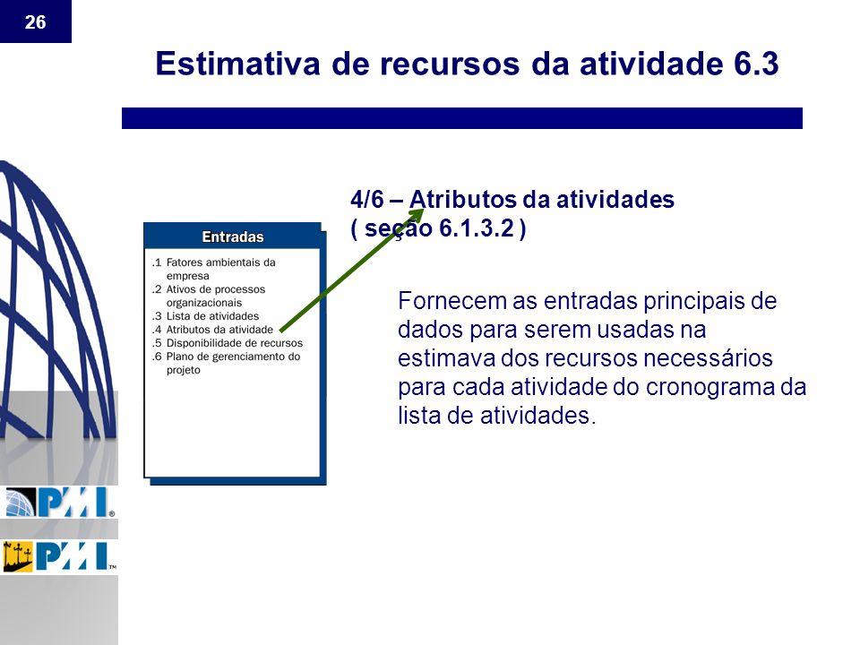 26 Estimativa de recursos da atividade 6.3 4/6 – Atributos da atividades ( seção 6.1.3.2 ) Fornecem as entradas principais de dados para serem usadas
