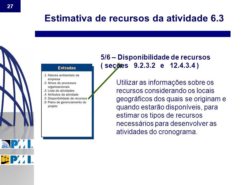 27 Estimativa de recursos da atividade 6.3 5/6 – Disponibilidade de recursos ( seções 9.2.3.2 e 12.4.3.4 ) Utilizar as informações sobre os recursos c