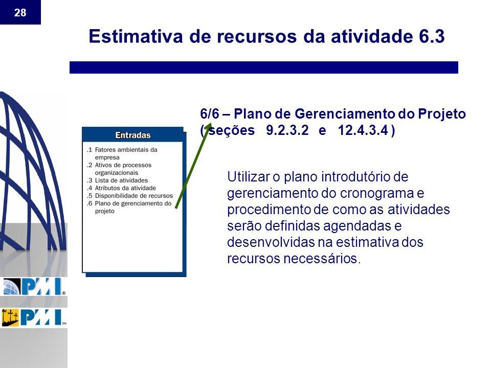 28 Estimativa de recursos da atividade 6.3 6/6 – Plano de Gerenciamento do Projeto ( seções 9.2.3.2 e 12.4.3.4 ) Utilizar o plano introdutório de gere