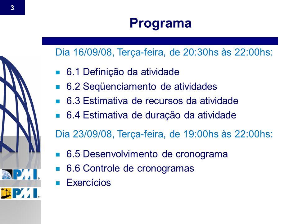 3 Dia 16/09/08, Terça-feira, de 20:30hs às 22:00hs: n 6.1 Definição da atividade n 6.2 Seqüenciamento de atividades n 6.3 Estimativa de recursos da at