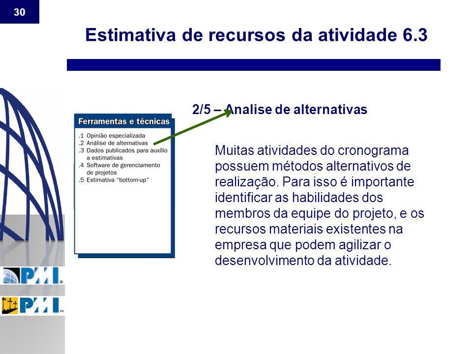 30 Estimativa de recursos da atividade 6.3 2/5 – Analise de alternativas Muitas atividades do cronograma possuem métodos alternativos de realização. P