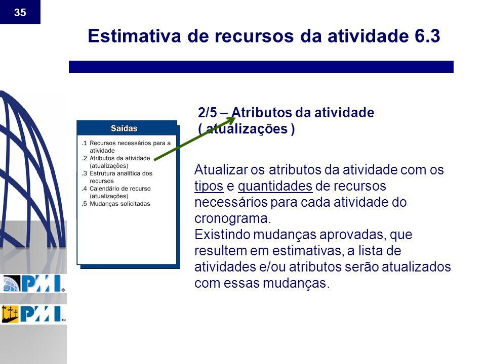35 Estimativa de recursos da atividade 6.3 2/5 – Atributos da atividade ( atualizações ) Atualizar os atributos da atividade com os tipos e quantidade