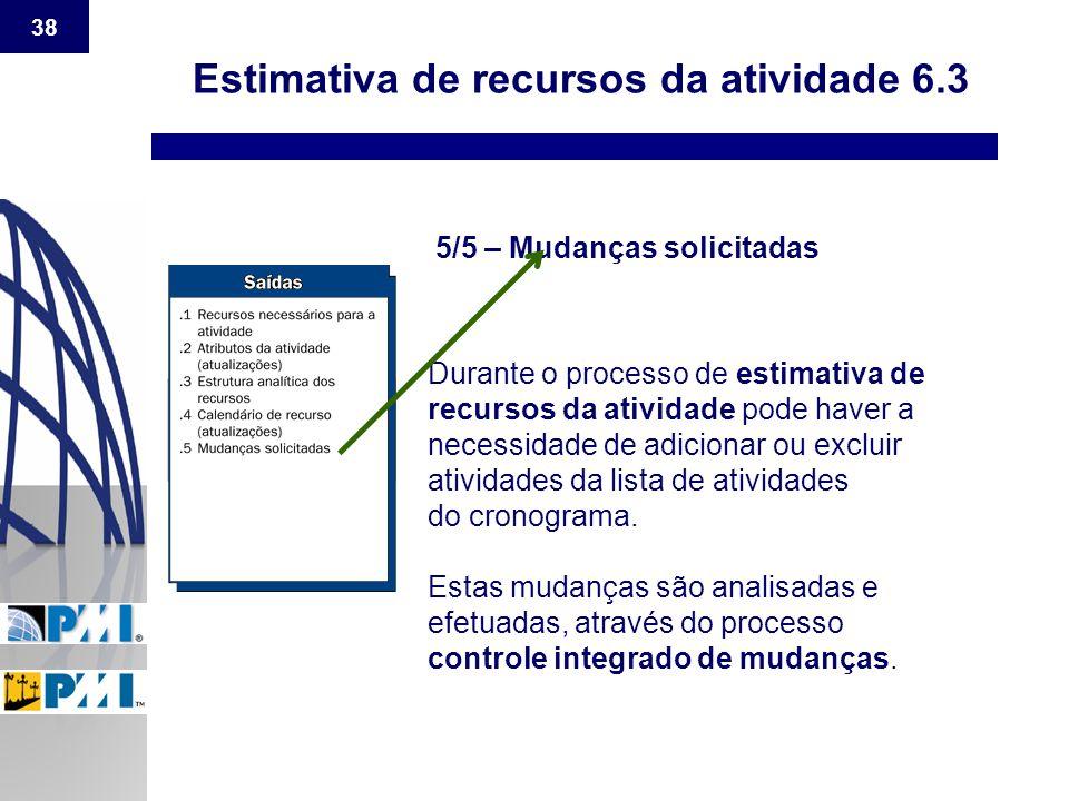 38 Estimativa de recursos da atividade 6.3 5/5 – Mudanças solicitadas Durante o processo de estimativa de recursos da atividade pode haver a necessida