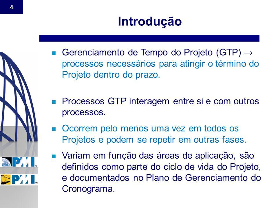 4 n Gerenciamento de Tempo do Projeto (GTP) → processos necessários para atingir o término do Projeto dentro do prazo. n Processos GTP interagem entre
