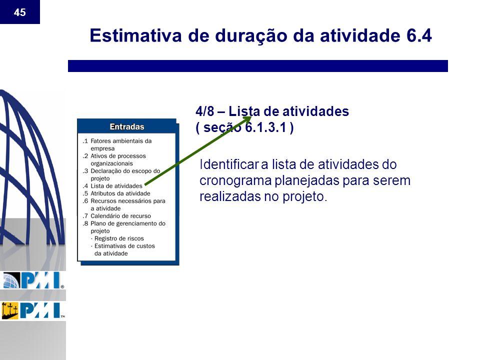 45 Estimativa de duração da atividade 6.4 4/8 – Lista de atividades ( seção 6.1.3.1 ) Identificar a lista de atividades do cronograma planejadas para