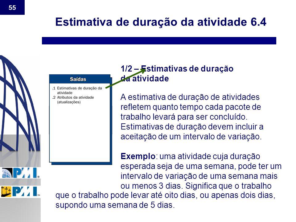 55 Estimativa de duração da atividade 6.4 1/2 – Estimativas de duração da atividade A estimativa de duração de atividades refletem quanto tempo cada p