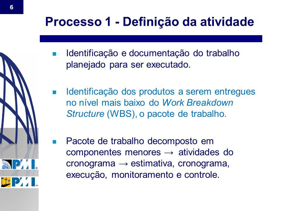 6 n Identificação e documentação do trabalho planejado para ser executado. n Identificação dos produtos a serem entregues no nível mais baixo do Work