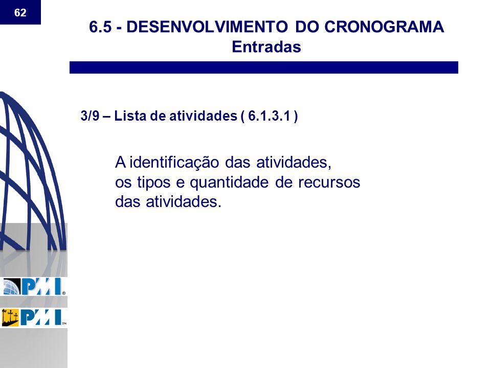 62 6.5 - DESENVOLVIMENTO DO CRONOGRAMA Entradas 3/9 – Lista de atividades ( 6.1.3.1 ) A identificação das atividades, os tipos e quantidade de recurso