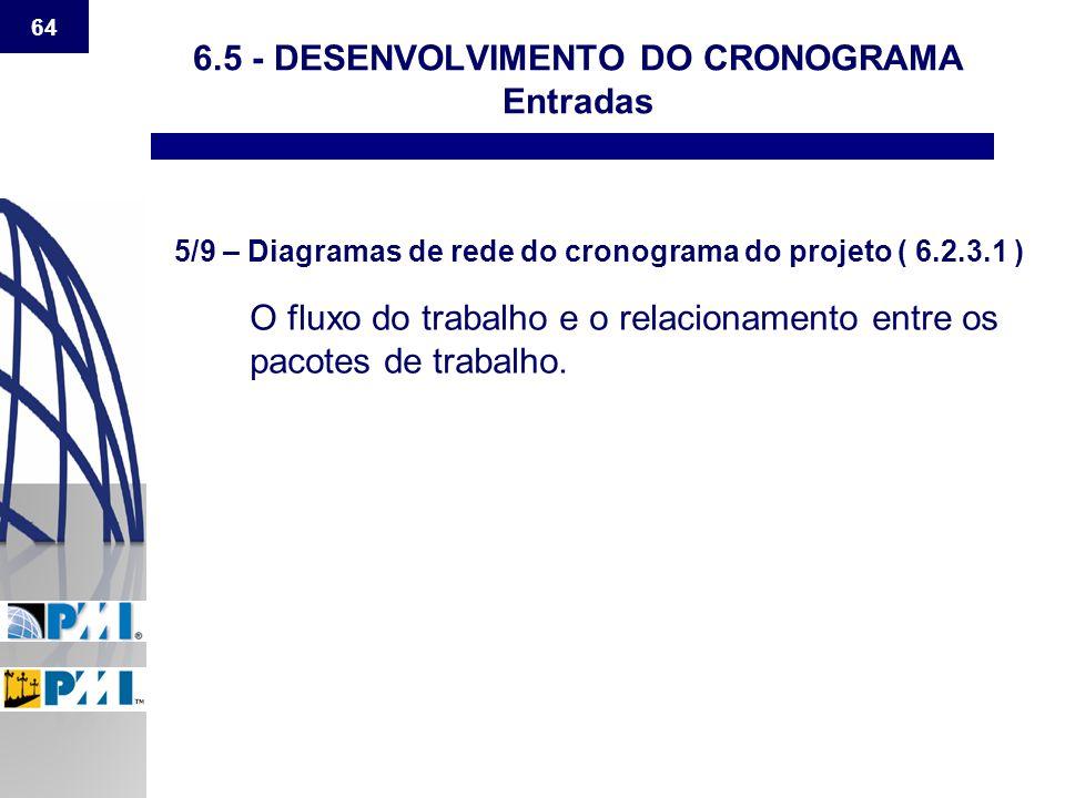 64 6.5 - DESENVOLVIMENTO DO CRONOGRAMA Entradas 5/9 – Diagramas de rede do cronograma do projeto ( 6.2.3.1 ) O fluxo do trabalho e o relacionamento en