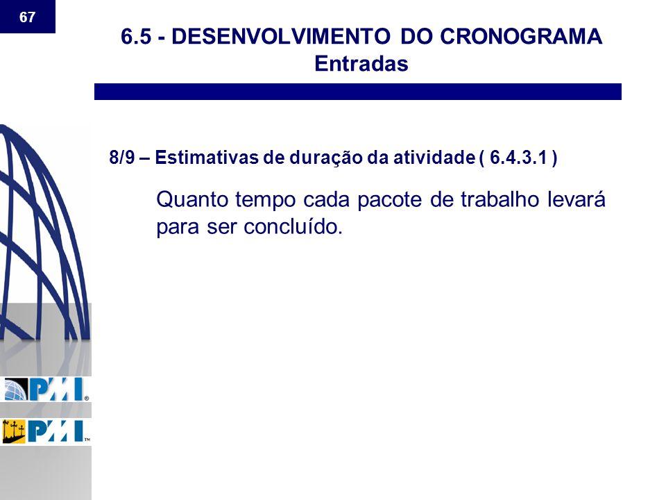 67 6.5 - DESENVOLVIMENTO DO CRONOGRAMA Entradas 8/9 – Estimativas de duração da atividade ( 6.4.3.1 ) Quanto tempo cada pacote de trabalho levará para