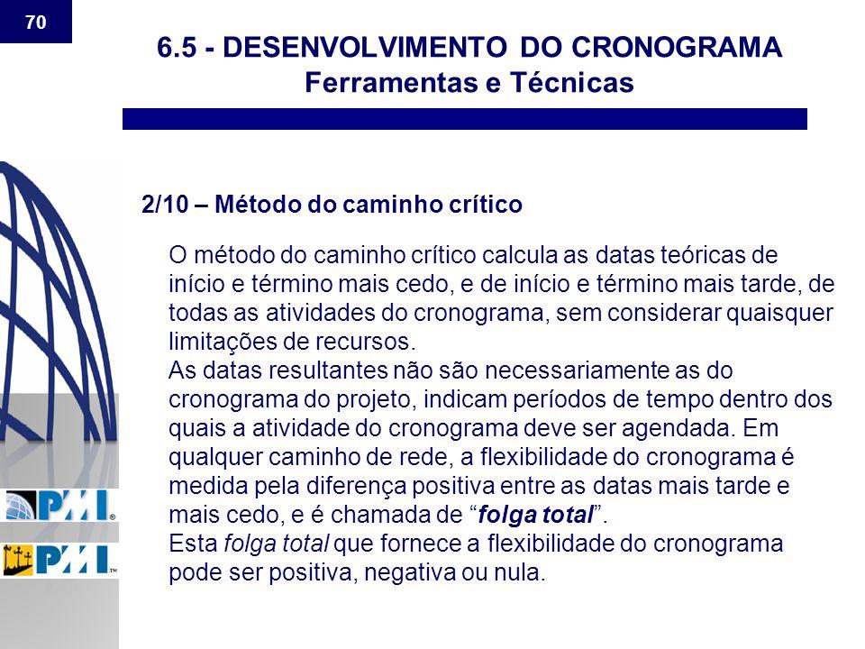 70 6.5 - DESENVOLVIMENTO DO CRONOGRAMA Ferramentas e Técnicas 2/10 – Método do caminho crítico O método do caminho crítico calcula as datas teóricas d
