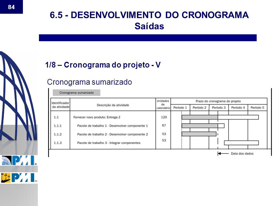 84 6.5 - DESENVOLVIMENTO DO CRONOGRAMA Saídas 1/8 – Cronograma do projeto - V Cronograma sumarizado