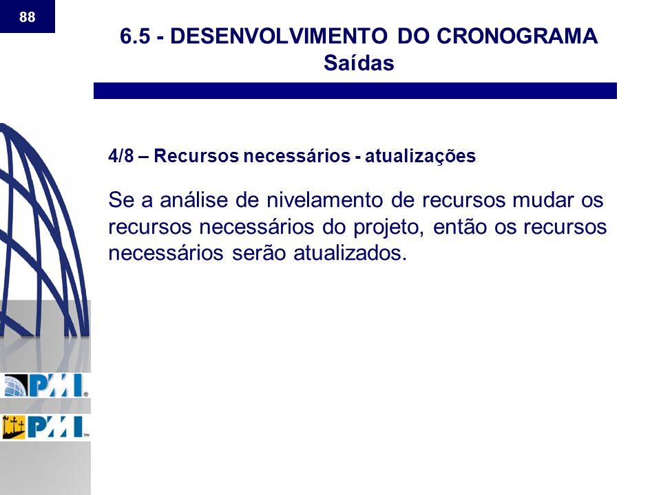 88 6.5 - DESENVOLVIMENTO DO CRONOGRAMA Saídas 4/8 – Recursos necessários - atualizações Se a análise de nivelamento de recursos mudar os recursos nece
