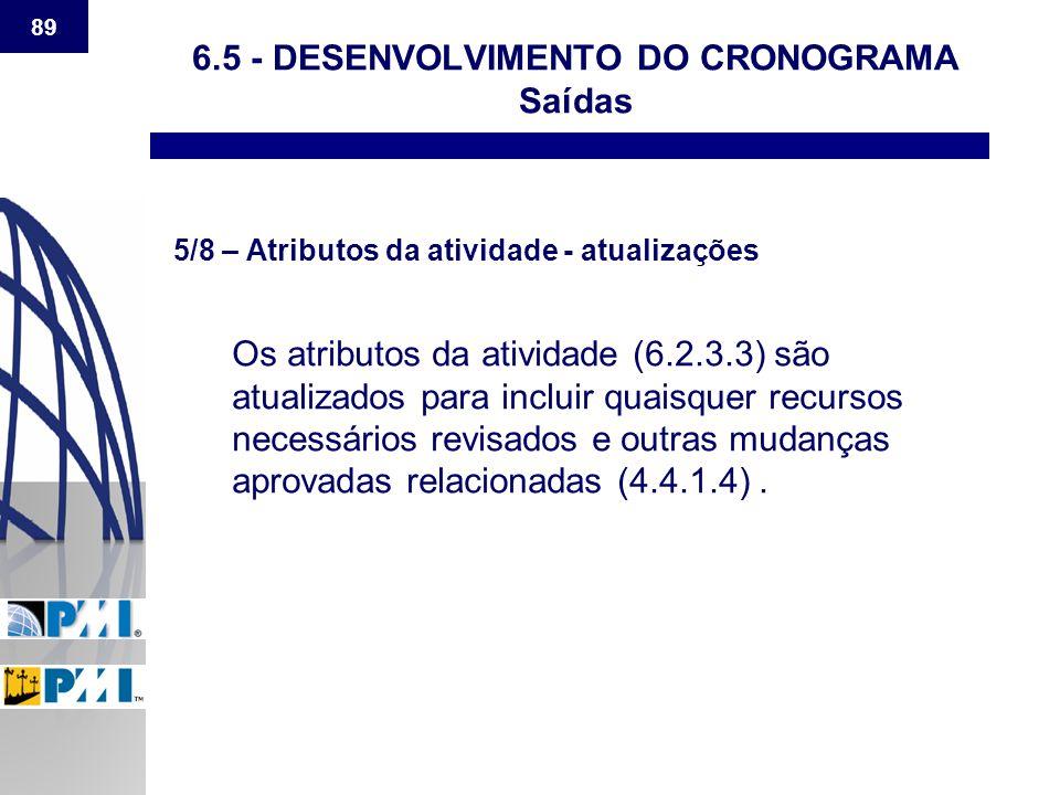 89 6.5 - DESENVOLVIMENTO DO CRONOGRAMA Saídas 5/8 – Atributos da atividade - atualizações Os atributos da atividade (6.2.3.3) são atualizados para inc