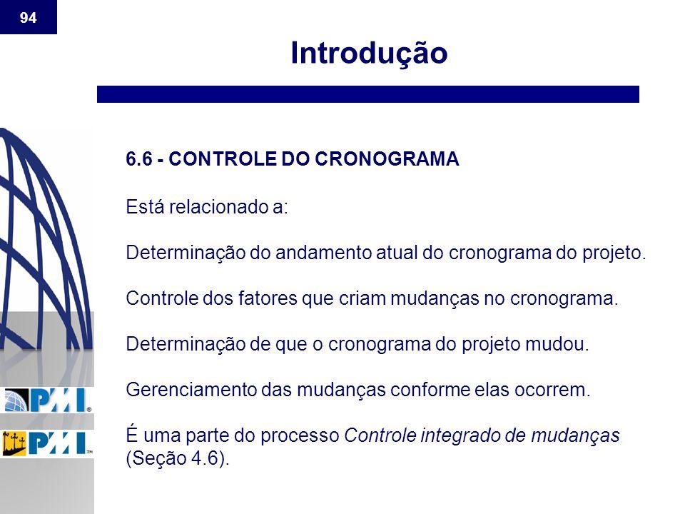 94 Introdução 6.6 - CONTROLE DO CRONOGRAMA Está relacionado a: Determinação do andamento atual do cronograma do projeto. Controle dos fatores que cria