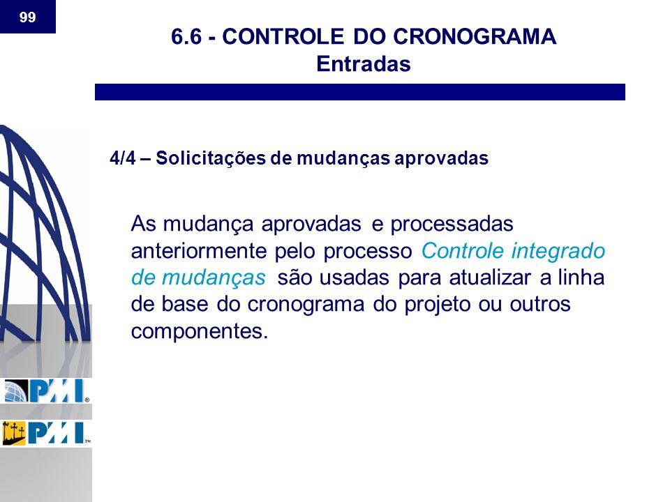 99 6.6 - CONTROLE DO CRONOGRAMA Entradas 4/4 – Solicitações de mudanças aprovadas As mudança aprovadas e processadas anteriormente pelo processo Contr