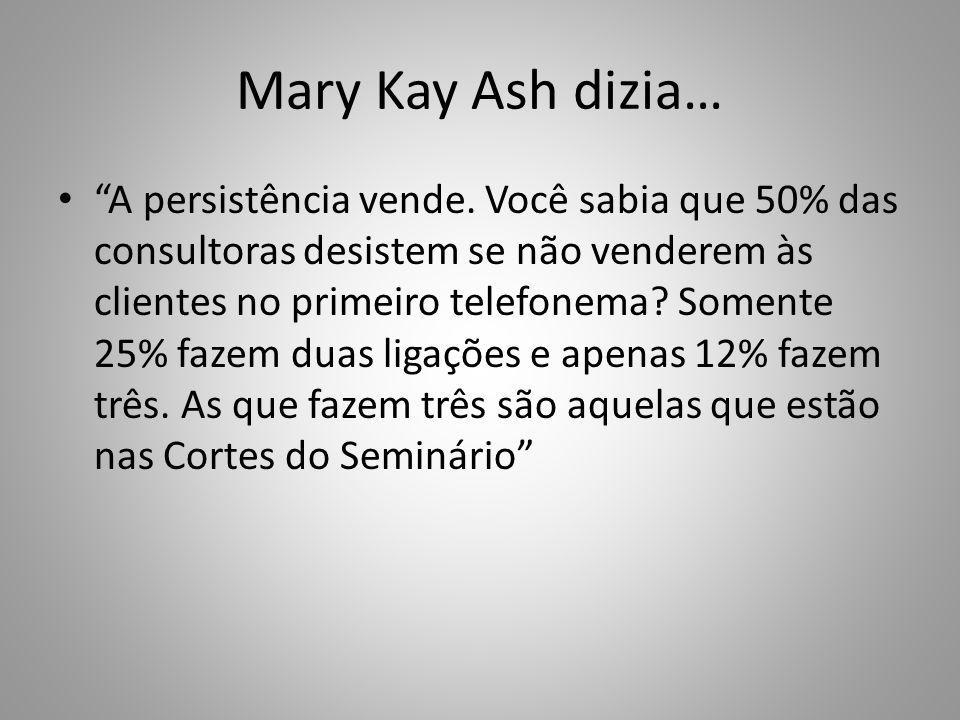 """Mary Kay Ash dizia… """"A persistência vende. Você sabia que 50% das consultoras desistem se não venderem às clientes no primeiro telefonema? Somente 25%"""