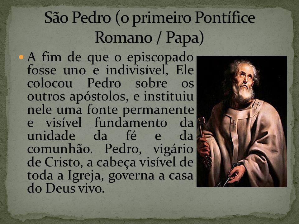 A fim de que o episcopado fosse uno e indivisível, Ele colocou Pedro sobre os outros apóstolos, e instituiu nele uma fonte permanente e visível fundam