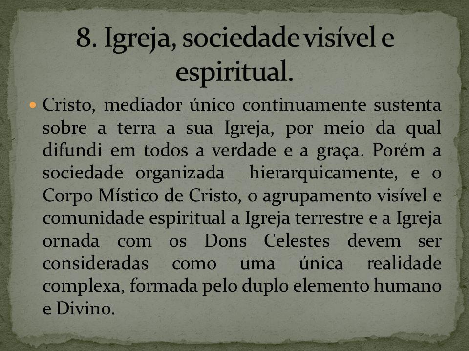 Cristo, mediador único continuamente sustenta sobre a terra a sua Igreja, por meio da qual difundi em todos a verdade e a graça. Porém a sociedade org