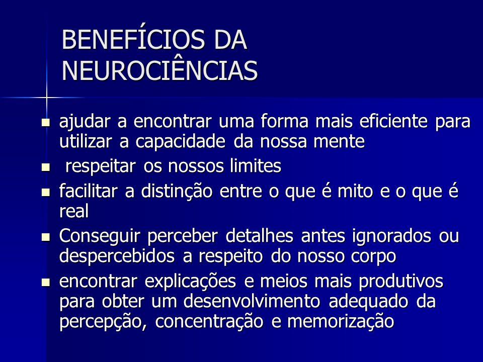 BENEFÍCIOS DA NEUROCIÊNCIAS ajudar a encontrar uma forma mais eficiente para utilizar a capacidade da nossa mente ajudar a encontrar uma forma mais ef
