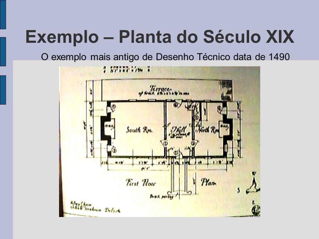 Exemplo – Planta do Século XIX O exemplo mais antigo de Desenho Técnico data de 1490
