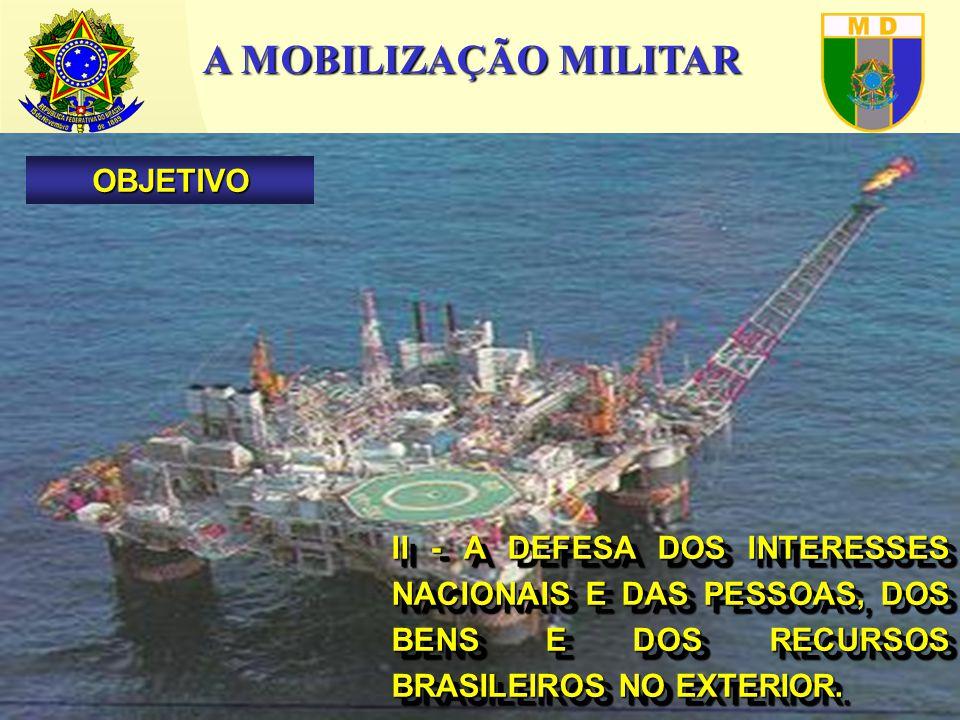 A MOBILIZAÇÃO MILITAR II - A DEFESA DOS INTERESSES NACIONAIS E DAS PESSOAS, DOS BENS E DOS RECURSOS BRASILEIROS NO EXTERIOR.