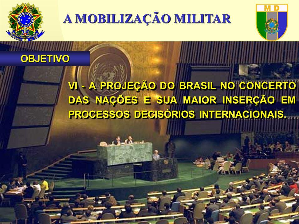 A MOBILIZAÇÃO MILITAR VI - A PROJEÇÃO DO BRASIL NO CONCERTO DAS NAÇÕES E SUA MAIOR INSERÇÃO EM PROCESSOS DECISÓRIOS INTERNACIONAIS.