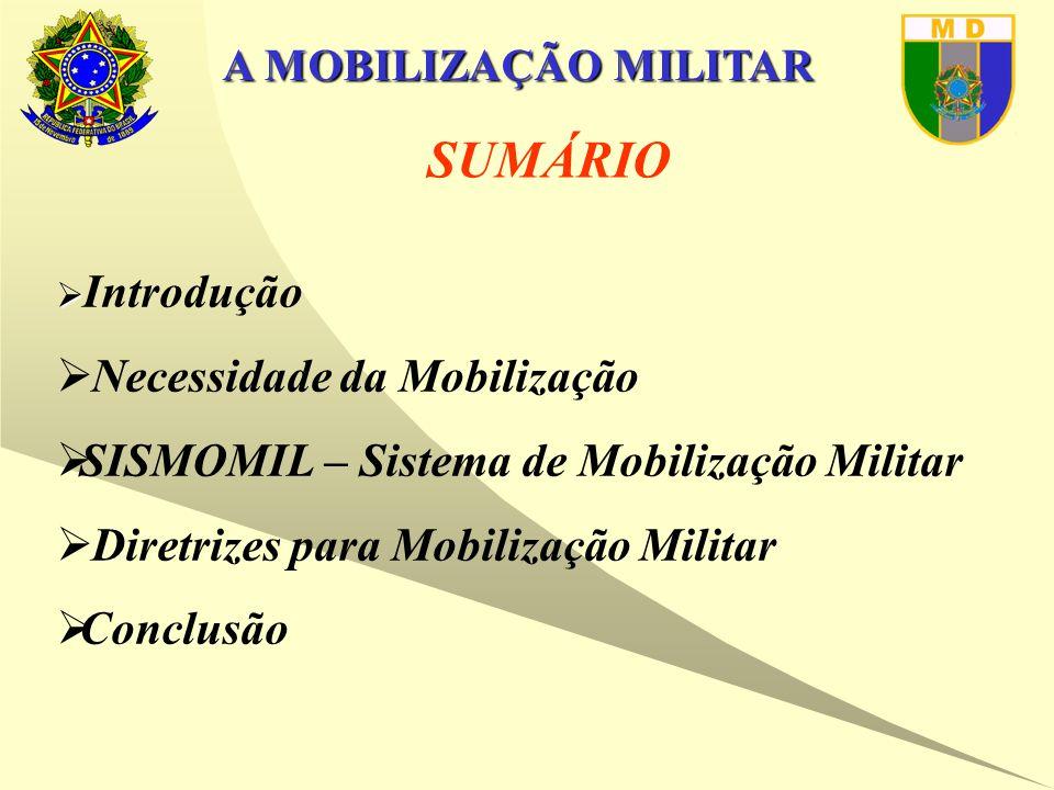 A MOBILIZAÇÃO MILITAR Diretriz Setorial de Mobilização Militar (DSMM) OBJETIVOS  DEFINIR AS BASES PARA A ELABORAÇÃO DOS PLANOS DE MOBILIZAÇÃO DOS COMANDOS MILITARES;  ESTABELECER AS ATRIBUIÇÕES RELATIVAS À MOBILIZAÇÃO MILITAR; e  CRIAR CONDIÇÕES PARA A INTEGRAÇÃO DA MOBILIZAÇÃO MILITAR COM A MOBILIZAÇÃO DAS DEMAIS EXPRESSÕES.
