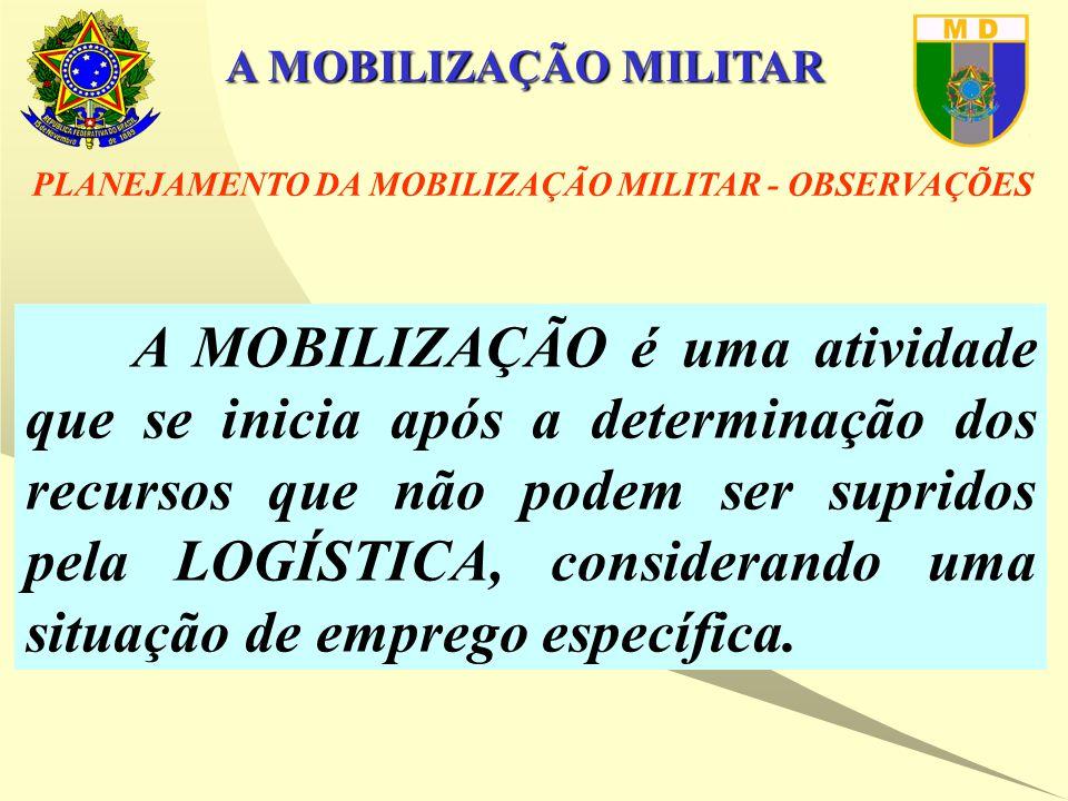 A MOBILIZAÇÃO MILITAR A MOBILIZAÇÃO é uma atividade que se inicia após a determinação dos recursos que não podem ser supridos pela LOGÍSTICA, considerando uma situação de emprego específica.