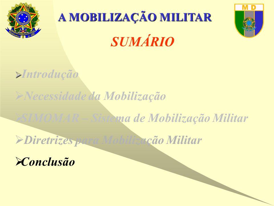 A MOBILIZAÇÃO MILITAR SUMÁRIO   Introdução  Necessidade da Mobilização  SIMOMAR – Sistema de Mobilização Militar  Diretrizes para Mobilização Militar  Conclusão