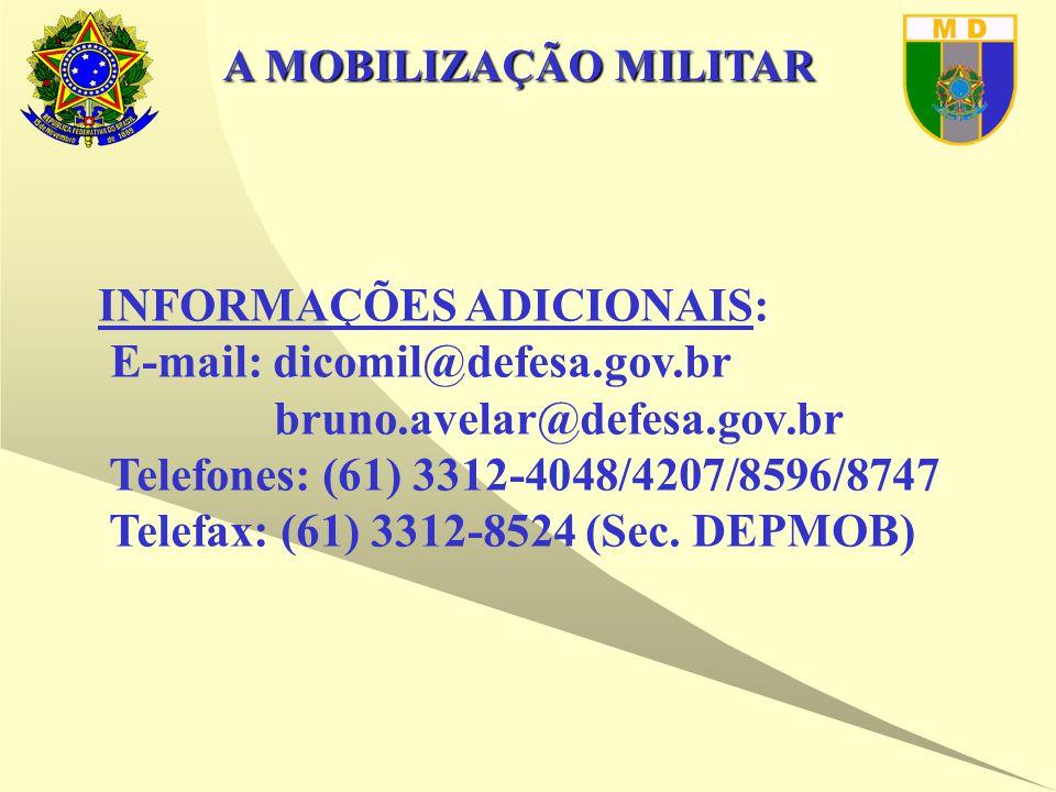 A MOBILIZAÇÃO MILITAR INFORMAÇÕES ADICIONAIS: E-mail: dicomil@defesa.gov.br bruno.avelar@defesa.gov.br Telefones: (61) 3312-4048/4207/8596/8747 Telefax: (61) 3312-8524 (Sec.